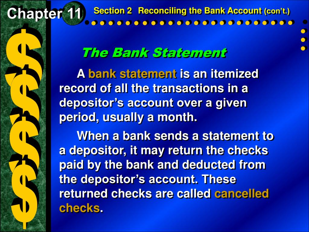 PPT - Section 2 Reconciling the Bank Account PowerPoint
