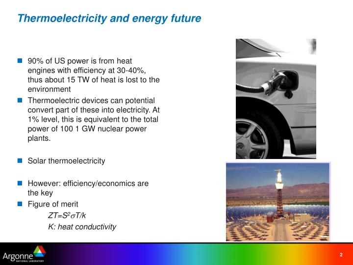 Thermoelectricity and energy future