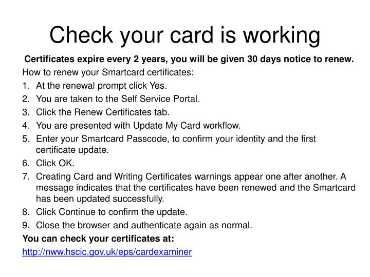 Check your card is working