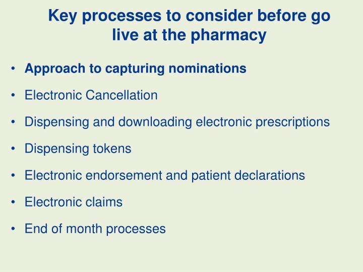 Key processes to consider before go live at the pharmacy