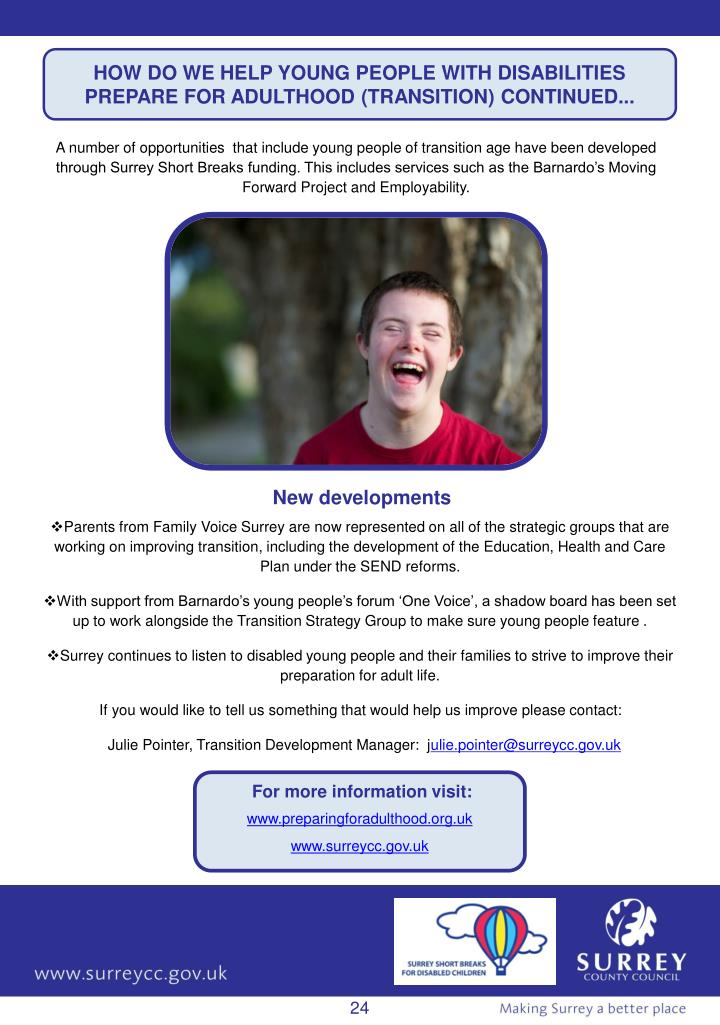 HOW DO WE HELP YOUNG PEOPLE WITH DISABILITIES PREPARE FOR ADULTHOOD (TRANSITION) CONTINUED...