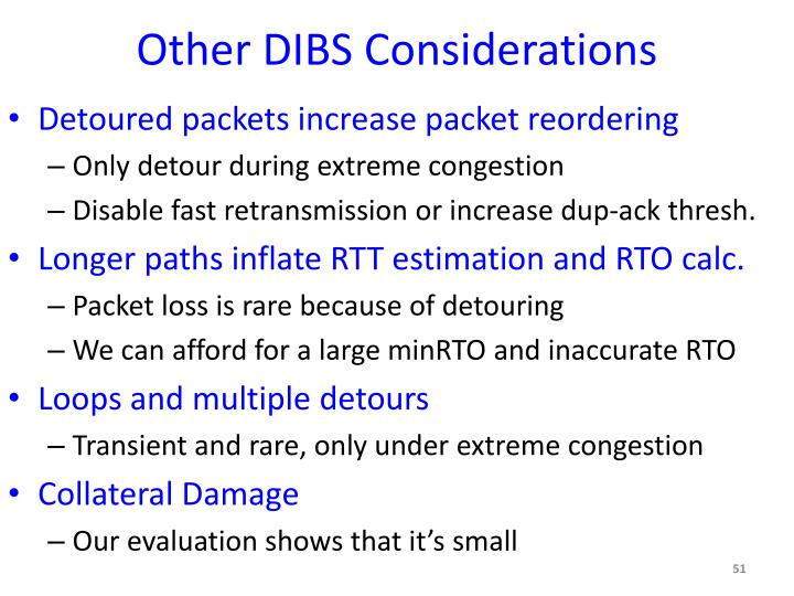 Other DIBS Considerations
