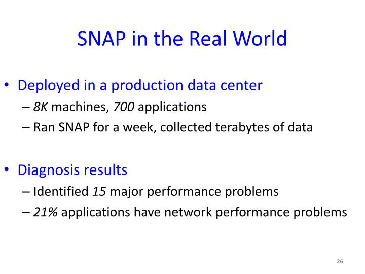 SNAP in the Real World