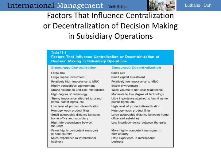 Factors That Influence Centralization