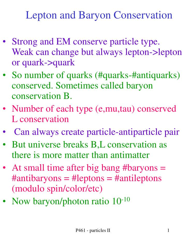 lepton and baryon conservation n.
