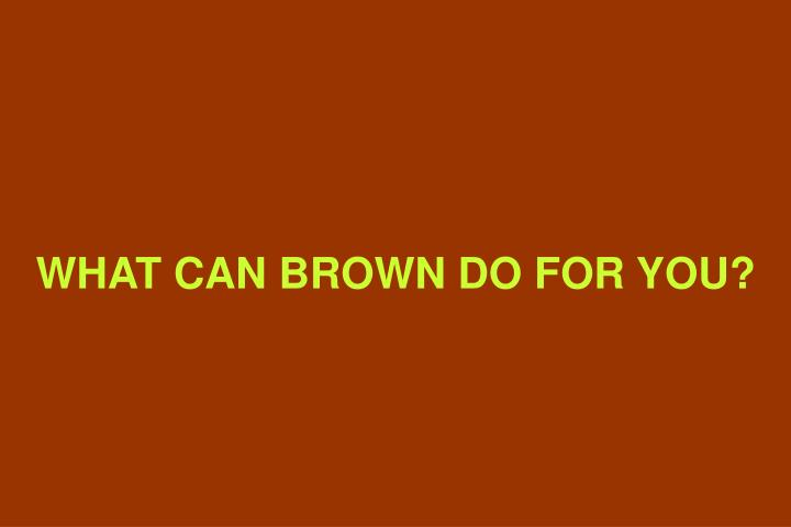 WHAT CAN BROWN DO FOR YOU?