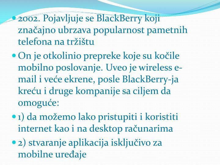 2002. Pojavljuje se BlackBerry koji značajno ubrzava popularnost pametnih telefona na tržištu