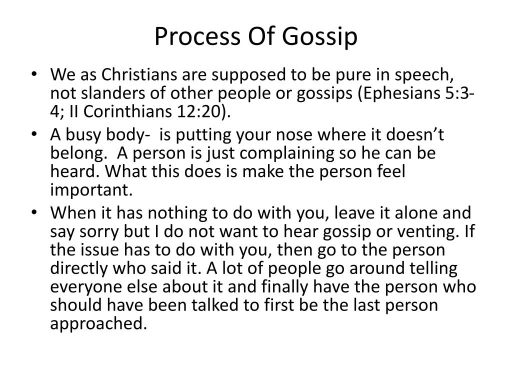 PPT - Gossip, Slander & The Christian PowerPoint