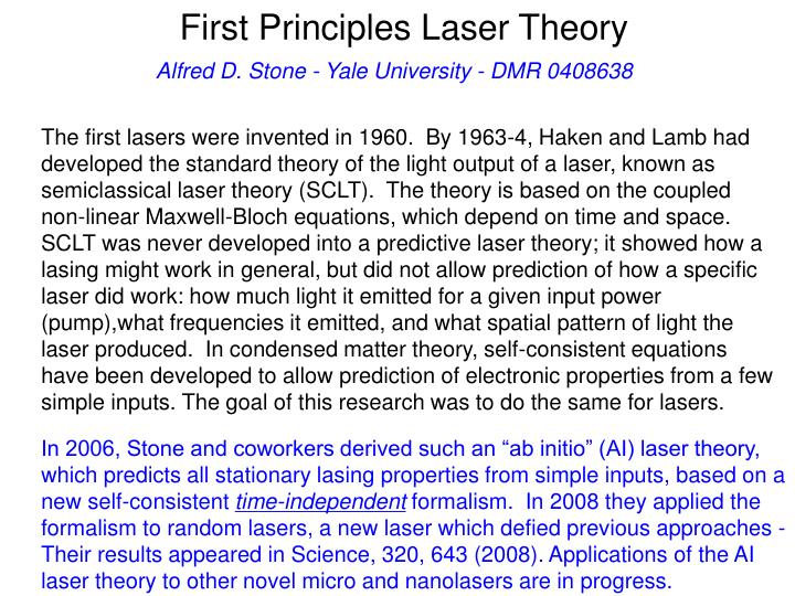 first principles laser theory n.