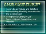 a look at draft policy 605 spiritual religious and cultural aspects of education