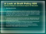 a look at draft policy 605 spiritual religious and cultural aspects of education2