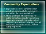 community expectations