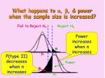 what happens to a b power when the sample size is increased