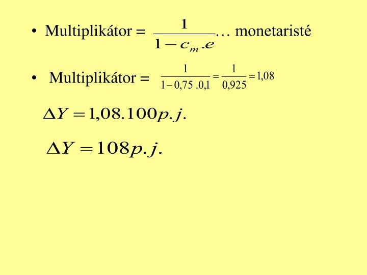 Multiplikátor =… monetaristé