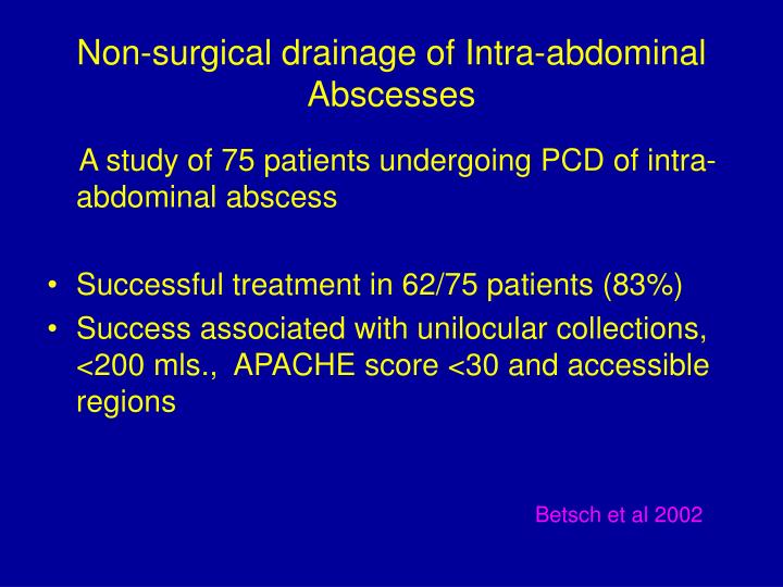 Non-surgical drainage of Intra-abdominal Abscesses