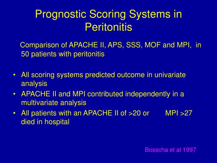 Prognostic Scoring Systems in Peritonitis