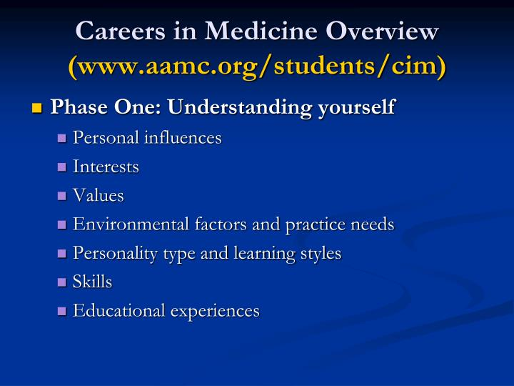 Careers in medicine overview www aamc org students cim