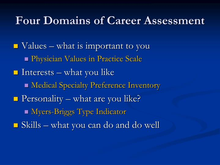 Four Domains of Career Assessment