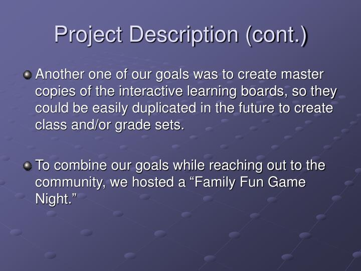 Project Description (cont.)