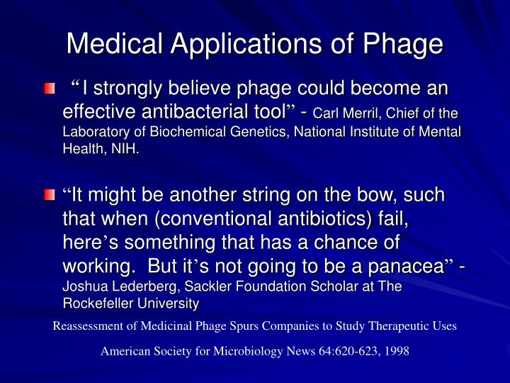 Medical Applications of Phage