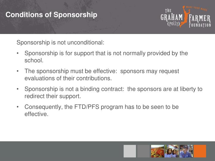 Conditions of Sponsorship
