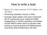 how to write a lead9