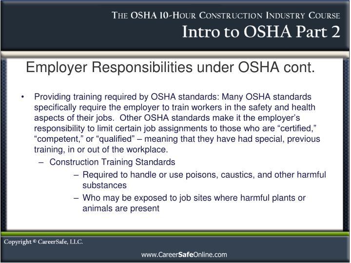 Employer responsibilities under osha cont