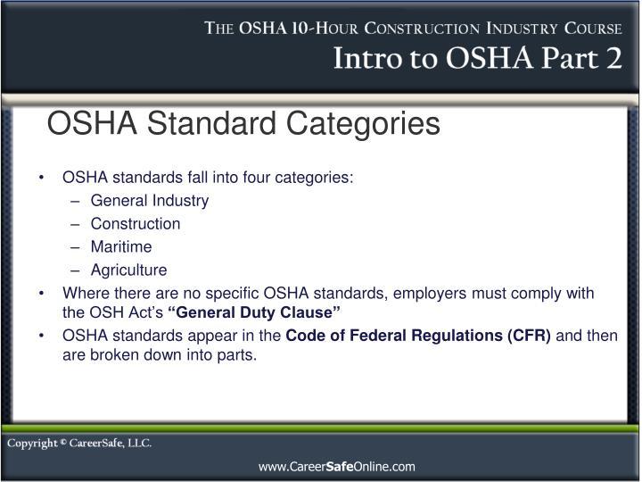 OSHA Standard Categories