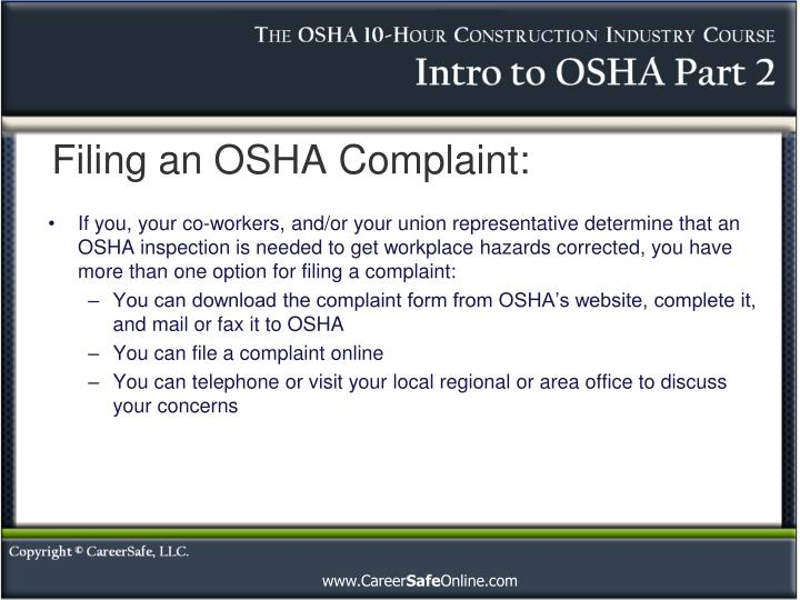 Filing an OSHA Complaint: