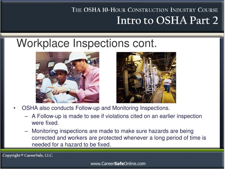 Workplace Inspections cont.