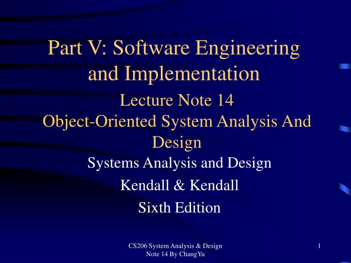 PPT - Lecture Note 14 Object-Oriented System Analysis And Design