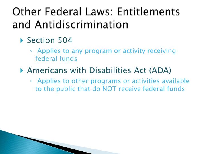 Other Federal Laws: Entitlements and Antidiscrimination