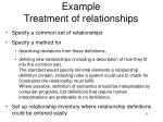 example treatment of relationships