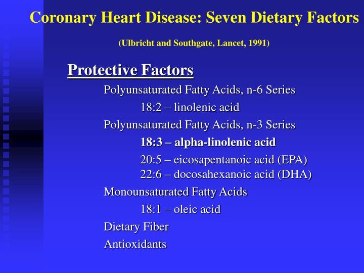 Coronary Heart Disease: Seven Dietary Factors
