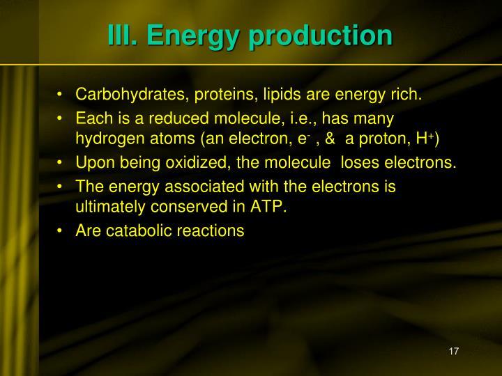 III. Energy production