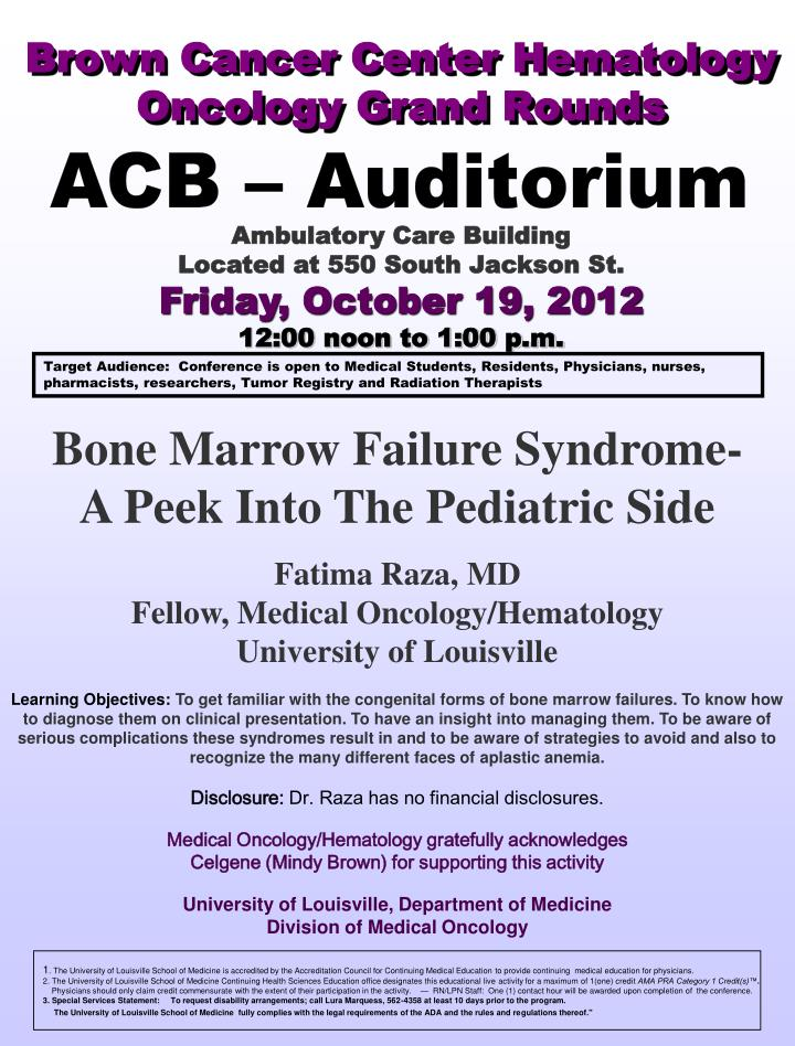 brown cancer center hematology oncology grand rounds n.
