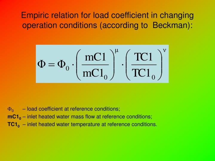 Empiric relation for load coefficient in changing operation conditions (according to  Beckman):
