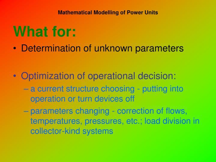 Mathematical modelling of power units1