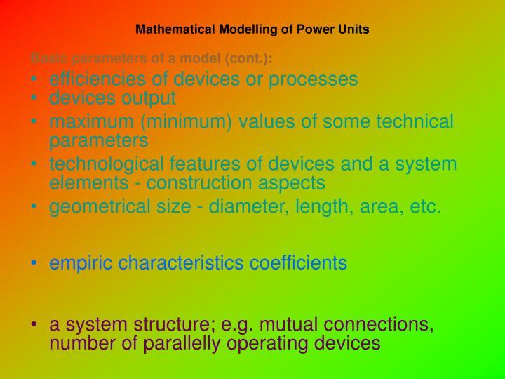 Mathematical Modelling of Power Units