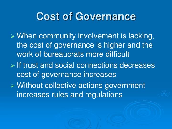 Cost of Governance
