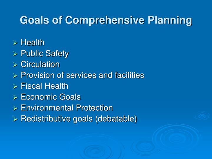 Goals of Comprehensive Planning