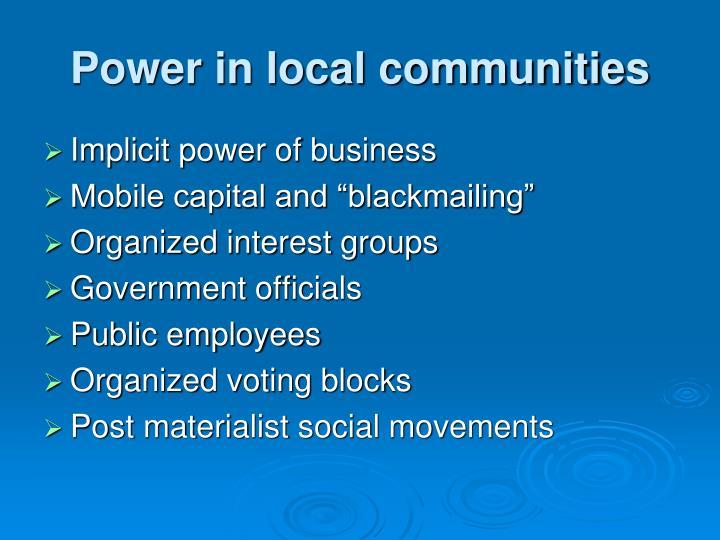 Power in local communities