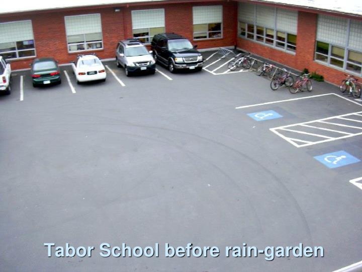Tabor School before rain-garden