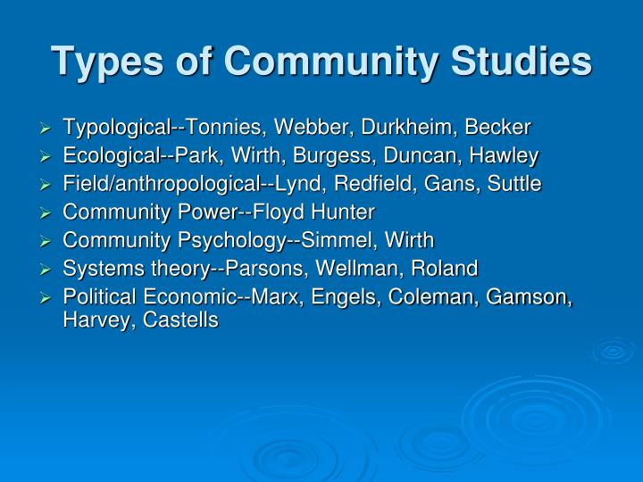 Types of Community Studies