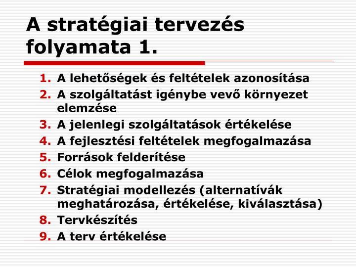 A stratégiai tervezés folyamata 1.