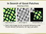 in search of good patches selecting a patch1
