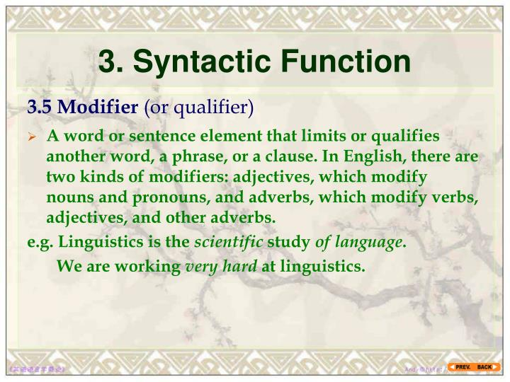 3 syntactic function