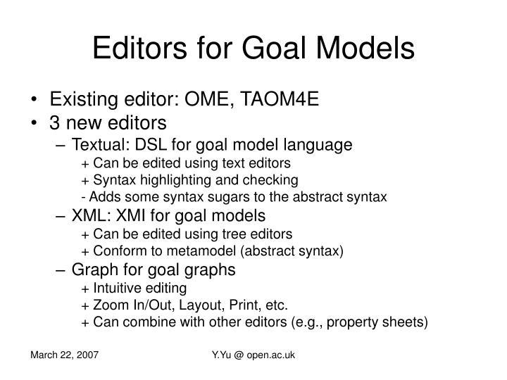 Editors for goal models