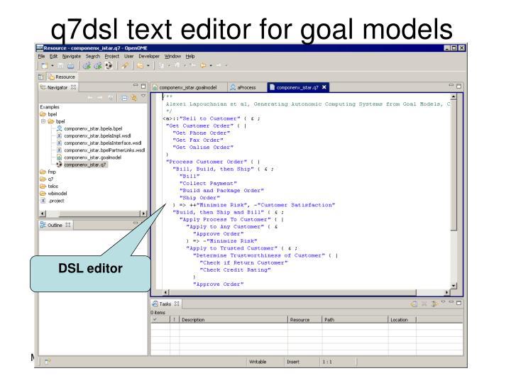 q7dsl text editor for goal models
