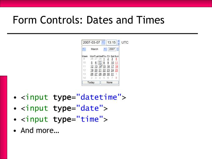 Form Controls: Dates and Times